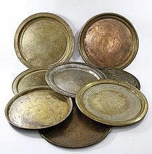 Collection of Copper Trays (8), Islamic Decorations.