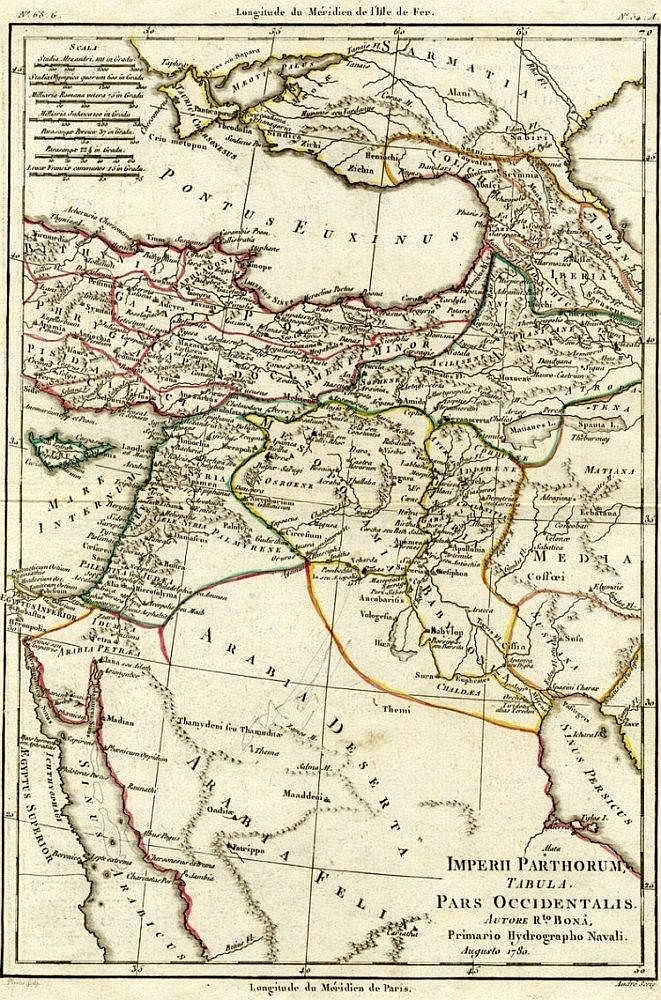 Map of the Parthian Empire. Bonne Rigobert. Paris, c. 1780.