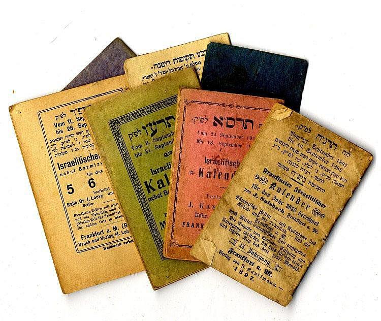 Calendars. 7 Calendars. Rodelheim, Frankfurt A.M.Calendars: [1881], [1886], [1897], [1900], [1902], [1915], [1923]. Printed in Rodelheim and Frankfurt A.M.