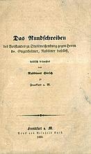 Das Rundschreiben. Polemic. Rabbi Samson Refael Hirsch's Fierce Response to the Trustees of the Stuhlweitzenburg, Hungary Community. Frankfurt A.M., 1860