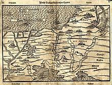 Map with an Illustration of the Exodus from Israel. Israels Barnas Reefors thur Egypten. Heinrich Bunting. Stockholm, 1595.