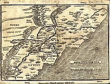 Map of the Land of Israel with Tribal Divisions. Heinrich Bunting, 1595, Stockholm