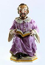 Rare Anti-Semitic Figure. 2 Movable Sections. A Jew Learning. Quality Porcelain, Meissen. Mid-19th Century