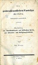 Die gottesdienstlichen Vortage der Juden. By Yom Tov Lipman Zunz. 2 Letters in his Hand. Berlin, 1835-8