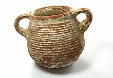 Pottery cooking pot with horizontally ribbed body and two handles. End of Second Temple period