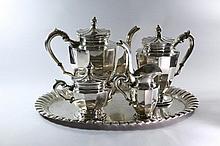 Silver Coffee Set.Tray, 2 Pitchers, Sugar Caddy, Milk Holder