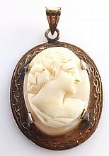 Cameo Pendant from Ivory and 18K Gold