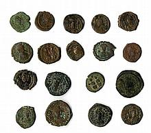 A lot of eighteen Byzantine coins (denomination of 20 nummia). ca. 6th-7th centuries.
