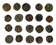 A lot of twenty Byzantine coins (denomination of 40 nummia). ca. 6th-7th centuries.