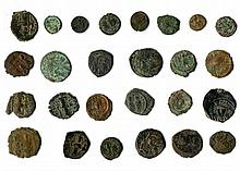 A lot of twenty five Late Roman and Byzantine Bronze coins