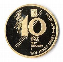 Mered V'Gevura, 10 Shekalim. Proof. Gold. 1993.