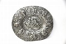 Decorated, silver serving tray. Augsburg, 18th century.