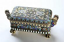 Beautiful Silver Box with Enamel. Pavel Ovchinnikov ?. Russia, mid - 19th century.