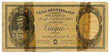 (Cassa Mediterranea di Credito Per L'Egitto 5 Lire ND (1942) - An International Discovery, A Banknote, the Only One of its Kind, From the Italian Occupation of Egypt, 1942
