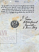 Document Signed by the First British Consul in Palestine, James Finn