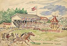 WALDO PEIRCE (American, 1884-1970) COUNTY FAIR HORSE RACING