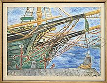 WALDO PEIRCE (American 1884-1970) THE GEORGE E KLINK AT WHARF