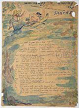 WALDO PEIRCE (American, 1884-1970) TRIPTYCH - HEMINGWAY AMONG THE SHARKS