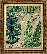 MARGUERITE THOMPSON ZORACH (American, 1887-1968) WATERFALL WITH TREES