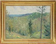 CHARLES HERBERT WOODBURY (American, 1864-1940) SUMMER LANDSCAPE WITH VIEW
