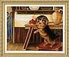 UNSIGNED (American, Mid 19th Century) PORTRAIT OF A DOG IN INTERIOR SETTING