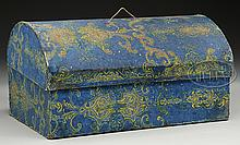 FINE DOMETOP BOX WITH HAND BLOCKED WALL PAPER.