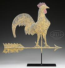 MOLDED COPPER GAME COCK WEATHERVANE WITH ARROW BY CUSHING.