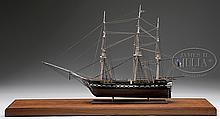 FINE CASED MODEL OF THE THREE MASTED SHIP