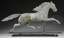 FULL BODY MOLDED COPPER RUNNING HORSE WEATHERVANE ATTRIBUTED TO CUSHING & WHITE.