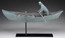 MOLDED COPPER DORY WITH FISHERMAN & CODFISH WEATHERVANE.