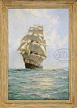 MONTAGUE DAWSON (British, 1890-1973) ONCOMING TALL SHIP.