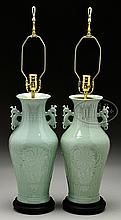 PAIR OF PORCELAIN BALUSTER VASES.