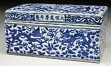 RECTANGULAR BLUE DECORATED PORCELAIN BOX.