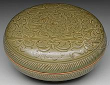 STONEWARE ROUND COVERED BOX WITH GREEN GLAZE.