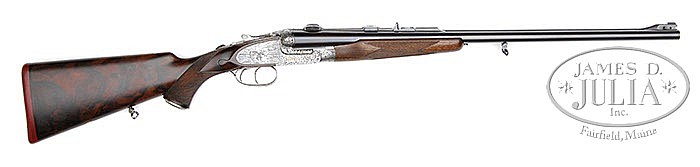 *FINELY ENGRAVED EXTRA FINISH JAMES PURDEY SIDELOCK EJECTOR DANGEROUS GAME DOUBLE RIFLE WITH SCOPE AND CASE.