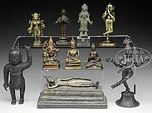 TEN MINIATURE BRONZE FIGURES.