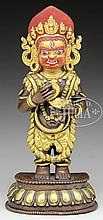 PARCEL GILT BRONZE FIGURE OF MAHAKALA.