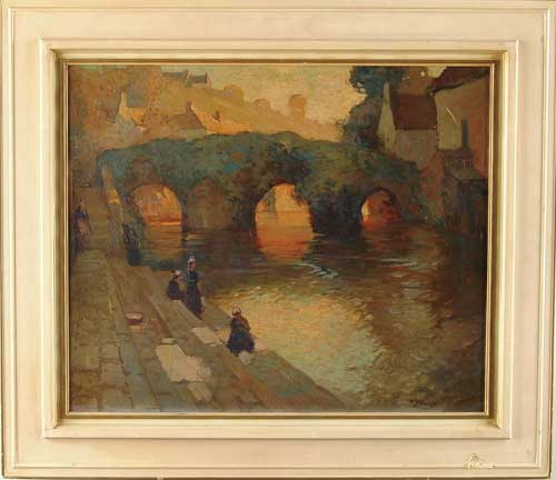 "GEORGE AMES ALDRICH (American, 1872-1941) ""THE FLOWERED BRIDGE, QUIMPERLE"""