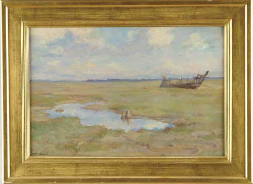 WILTON ROBERT LOCKWOOD (American, 1862-1914) NORMANDY MARSH WITH BOAT