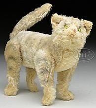 REMARKABLE AND MOST UNUSUAL VERY EARLY 6-WAY JOINTED MOHAIR STEIFF CAT WITH BUTTON.