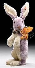LATE 1920s STEIFF PURPLE MOHAIR BEGGING RABBIT WITH BUTTON.