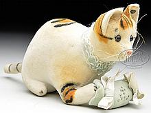 OUTSTANDING AND VERY EARLY STEIFF VELVET CAT PINCUSHION WITH BUTTON.
