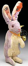 SMALL SIZE STEIFF PURPLE VELVET BEGGING RABBIT WITH MUSTER BUTTON.