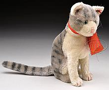 CIRCA 1930s MOHAIR TAIL-TURNS-HEAD STEIFF CAT WITH BUTTON.