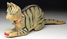 EXTREMELY RARE AND VERY EARLY VELVET STEIFF RATTLE CAT WITH ELEPHANT BUTTON.