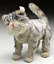 FANTASTIC FULLY JOINTED AND EARLY STEIFF CAT WITH BUTTON.