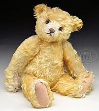 STUNNING & EXTREMELY DESIRABLE STEIFF YELLOW TEDDY BEAR FROM 1925 WITH BUTTON.