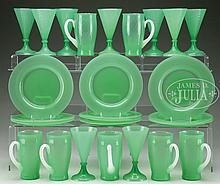 LOT OF STEUBEN GREEN JADE TABLEWARE.