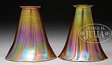 PAIR OF TIFFANY GOLD IRIDESCENT ART GLASS SHADES.