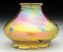 TIFFANY FAVRILE GLASS DECORATED SHADE.